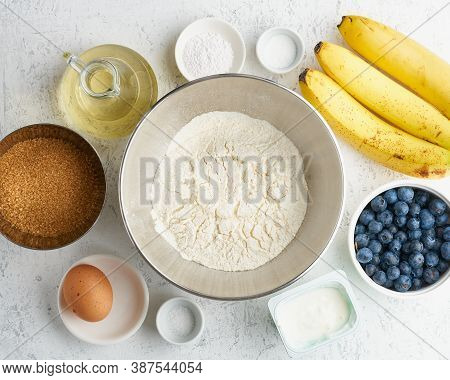 Ingredients For Banana Bread. Step By Step Recipe. Step 1. Banana, Flour, Egg, Oil, A Sugar.