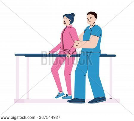 Disabled Woman Overcoming Medical Rehabilitation In Rehab Clinic, Flat Cartoon Vector Illustration I