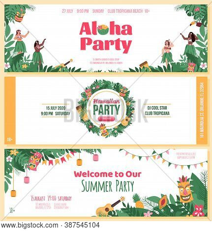 Invitation Flyers Set For Aloha Hawaiian Party, Flat Cartoon Vector Illustration. Beach Or Pool Summ