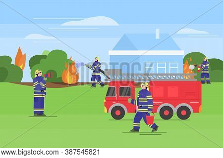 Firefighters Extinguish A Outdoor Fire. Firemen In Uniform Use Extinguisher And Water From Hose And