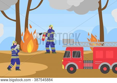 Background With Firefighters Trying To Put Out Fires In The Forest, Flat Cartoon Vector Illustration