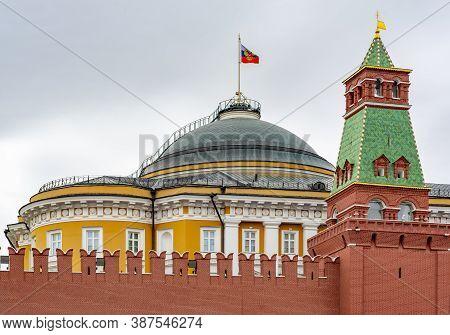 Senatskaya (senate) Tower And Senate Palace Dome Of Moscow Kremlin, Russia