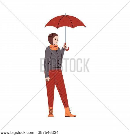 Woman Cartoon Character In Autumn Warm Clothes Holding Umbrella, Flat Vector Illustration Isolated O