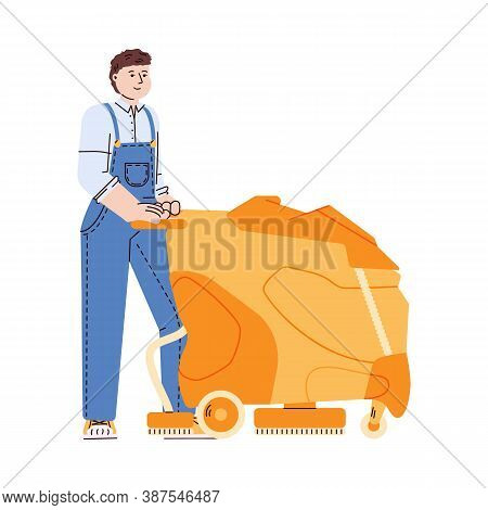 Cleaning Service Worker In Uniform Overall Washes Floor With Professional Floor Washing Machine, Fla