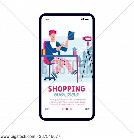 Fashion Blogger Video Overview On Purchase And Fashionable Trends, Flat Cartoon Vector Illustration
