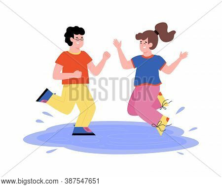Mischievous Naughty Kids Jumping In Puddles, Flat Vector Illustration Isolated On White Background.