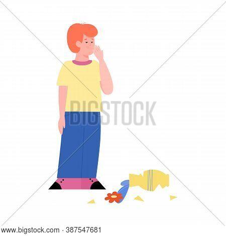 Mischievous Naughty Child Broke A Vase, Flat Cartoon Vector Illustration Isolated On White Backgroun