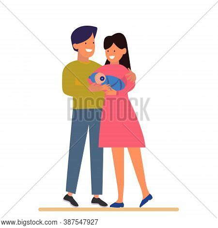 Cute Vector Illustration. Husband And Wife Are Standing With The Baby. The Husband Gently Embraces H