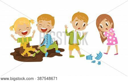 Naughty Girl And Boy Sitting In Mud And Breaking Vase Vector Illustration Set