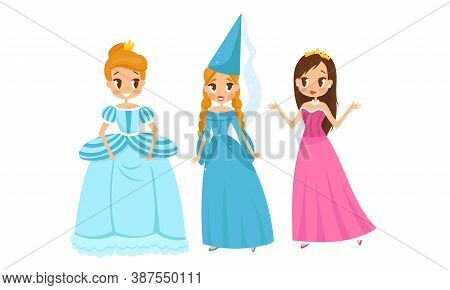 Smiling Princess With Hairstyle Wearing Crown And Dressy Look Garment Vector Illustration Set