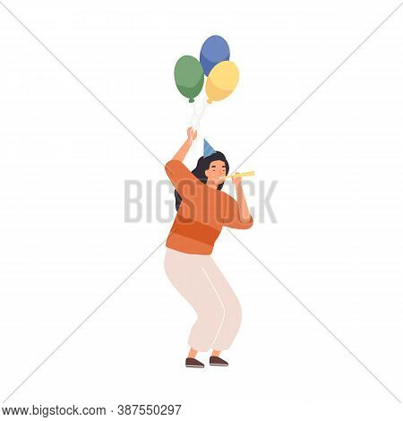 Festive Woman In Cone Hat Holding Colorful Air Balloons Vector Flat Illustration. Female Blowing In