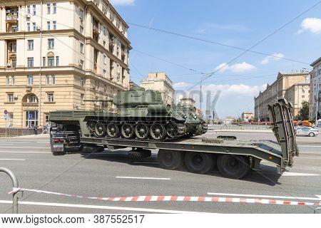 Transporting Soviet T-34-85 Medium Tank Along Novy Arbat During Rehearsal For Victory Day Parade. Mo