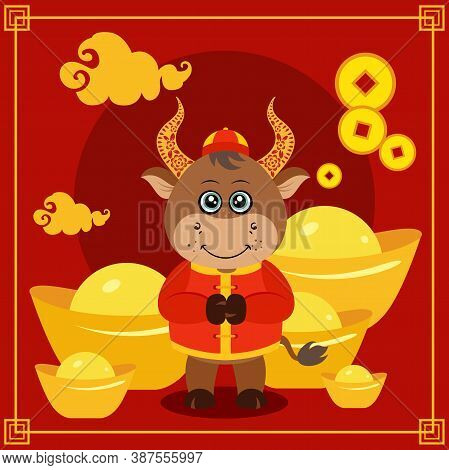 Scalable Vectorial Representing A Happy Chinese New Year 2021 Red Greeting Card, Element For Your De