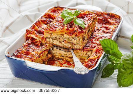 Healthy Meatless Dairy-free Vegan Tofu Lasagna With Champignon Mushrooms, Tomato Sauce, Italian Seas