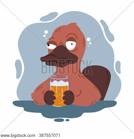 Drunk Platypus With A Glass Of Beer. Funny Duckbill In The Pub. Australian Wildlife. Vector Cartoon