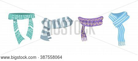 Collection Of Winter Or Autumn Scarf. Scarves And Shawls Set Icons Collection In Cartoon Style. Styl