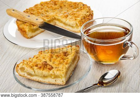 Shortbread Pie With Lemon Jam And Kitchen Knife On White Plate, Piece Of Pie In Saucer, Transparent