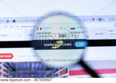 New York, Usa - 29 September 2020: Motorsport Motorsport.com Company Website With Logo Close Up, Ill