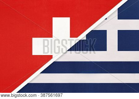 Switzerland Or Swiss Confederation And Greece Or Hellenic Republic, Symbol Of National Flags From Te