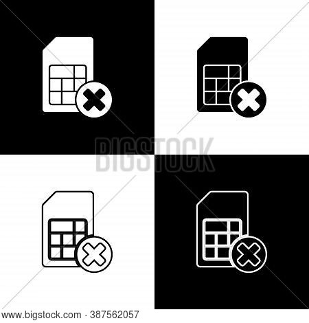 Set Sim Card Rejected Icon Isolated On Black And White Background. Mobile Cellular Phone Sim Card Ch
