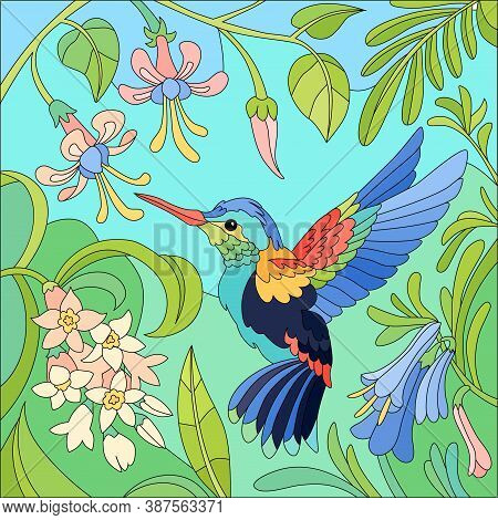 Flat Colored Tropical Little Bird Colibri Composition With Pink And Violet Flowers Vector Illustrati