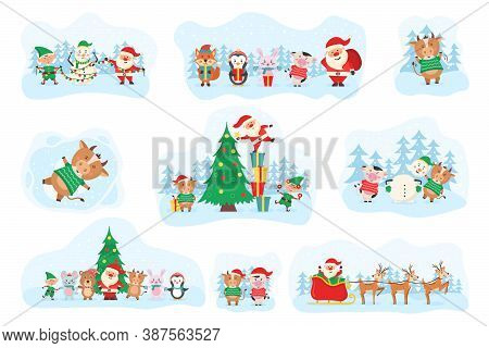 Cute Christmas Elements, Santa, Snowman, Gifts, Snowflakes, Bears, Penguins, Tree, Animals And Cow.