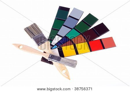 paints and color samples isolated on white background