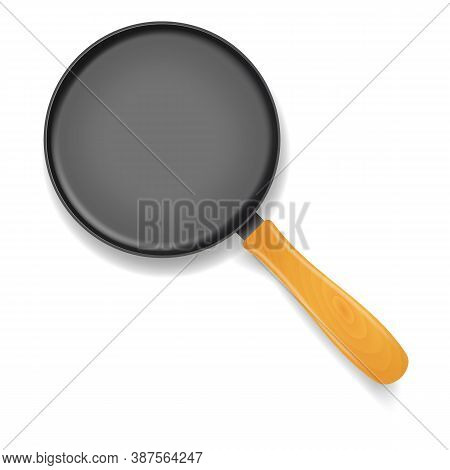 Realistic 3d Detailed Frying Pan With Handle For Cooking And Fry. Vector Illustration Of Metal Skill