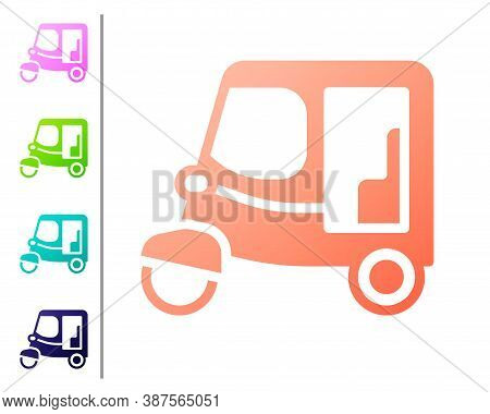 Coral Taxi Tuk Tuk Icon Isolated On White Background. Indian Auto Rickshaw Concept. Delhi Auto. Set
