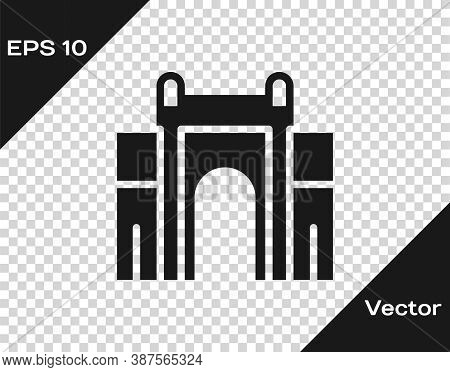 Black India Gate In New Delhi, India Icon Isolated On Transparent Background. Gate Way Of India Mumb