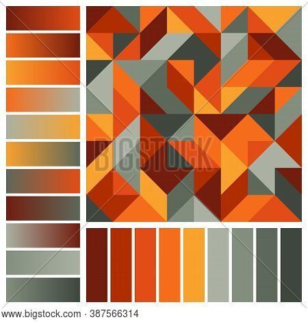 Harmonious Palette Of Fall Colors And Gradients With Geometric Composition. Burgundy, Orange, Red, Y