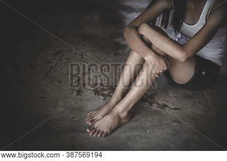 Young Depressed Woman, Domestic And Rape Violence,beaten And Raped Sitting In The Corner, Domestic V