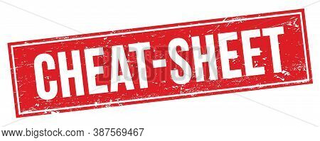 Cheat-sheet Text On Red Grungy Rectangle Stamp.