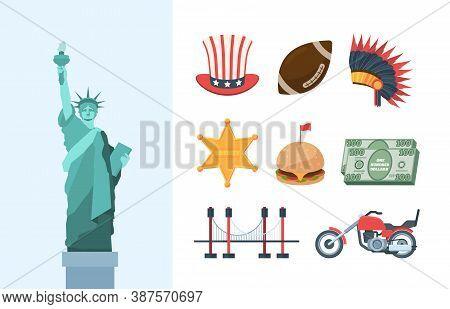 United States America Culture Large Set. Statue Of Liberty Brooklyn Steel Bridge Biker Motorcycle Bu