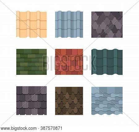 Tile Roof Color Set. Oval Rectangular Plates Green Orange Ceramic Decoration Striped Wavy Texture Em