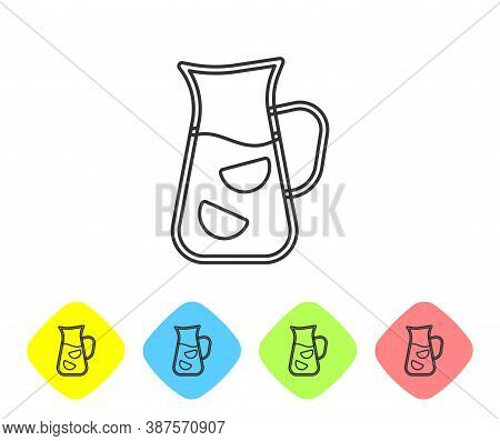 Grey Line Sangria Icon Isolated On White Background. Traditional Spanish Drink. Set Icons In Color R