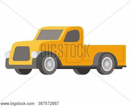 Retro Pickup Car Yellow Color.vector Illustration Vehicle.
