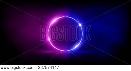 Neon Circle Shape Or Laser Glowing Pink And Blue Lines In Fog Background. Retrowave Style Wallpaper
