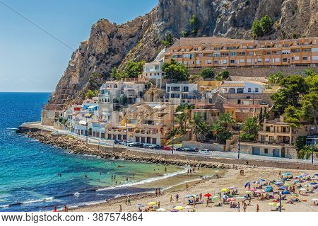 Benidorm, Spain - August 14, 2020: Typical Spanish Houses Located Above The Beach Ponente - Playa De