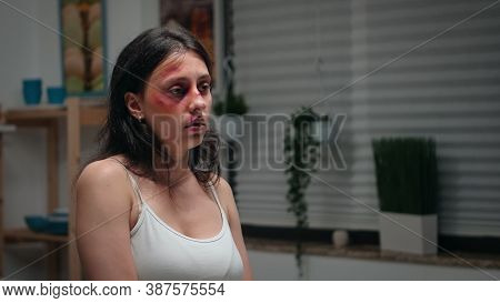 Woman Suffering In The Kitchen Being Violence Victim. Violent Aggressive Man Abusing Injuring Terrif