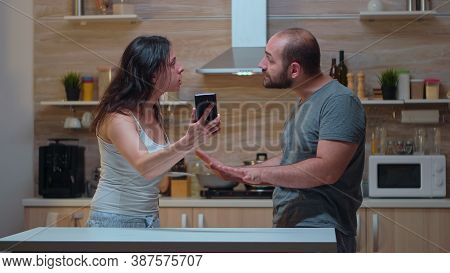 Jealous Wife Having Nervous Breakdowns Because Of Husband. Annoyed Woman Cheated Angry Frustrated Of