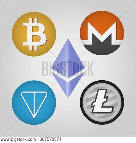 Bitcoin, Monero, Gram, Ethereum, Litecoin Logo Set. Web Icon. Digital Cryptocurrency Emblem. Vector