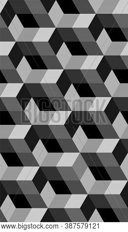 Cubic Seamless Geometric Isometric Pattern. Abstract Vector Cube. Modern Black And Gray Graphic Desi