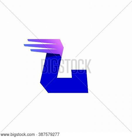 L Letter Logo With Fast Speed Lines Or Wings. Corporate Branding Identity Design Template With Vivid