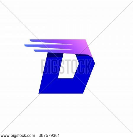 D Letter Logo With Fast Speed Lines Or Wings. Corporate Branding Identity Design Template With Vivid