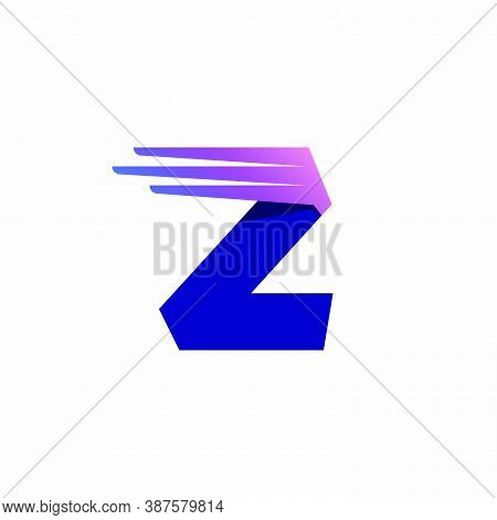 Z Letter Logo With Fast Speed Lines Or Wings. Corporate Branding Identity Design Template With Vivid