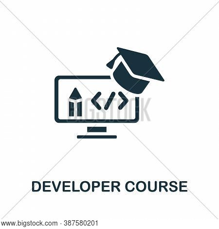 Developer Course Icon. Simple Element From Online Course Collection. Creative Developer Course Icon