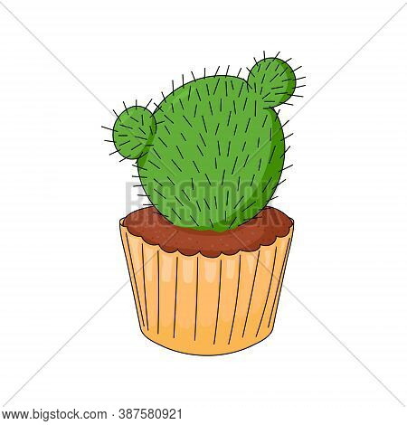 Cactus In The Form Of Cupcake On White Background. Funny Dessert. Hand Drawing. Succulent In Cartoon