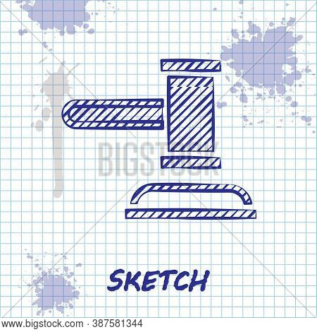 Sketch Line Judge Gavel Icon Isolated On White Background. Gavel For Adjudication Of Sentences And B