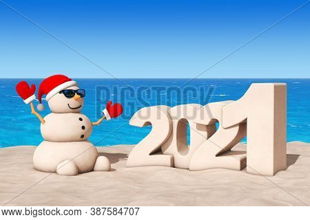Sandy Christmas Snowman At Sunny Beach With 2021 New Year Sign Extreme Closeup. 3d Rendering